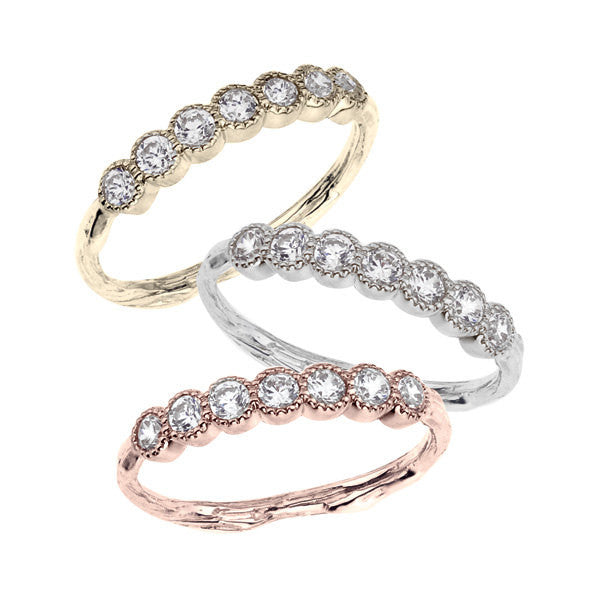 Diamond half eternity band in yellow, white or rose colored 18K recycled gold.