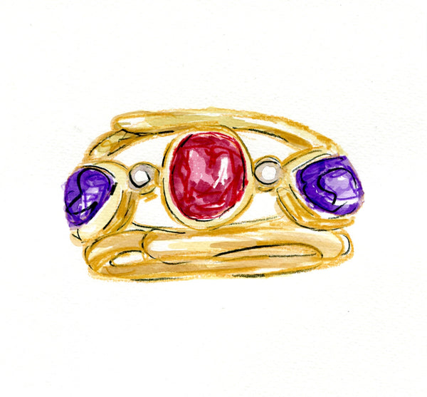 Royal Ruby and Amethyst Twig Ring