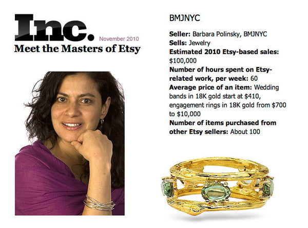 Tranquility Ring with Green Sapphires as featured in Inc. Magazine.