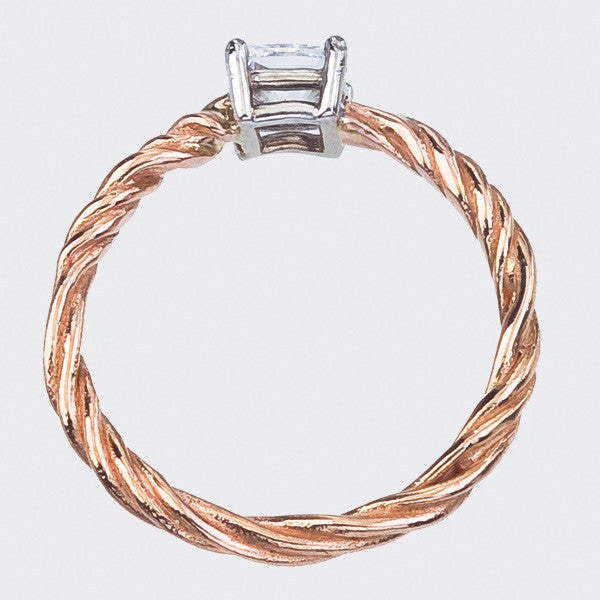 Twisted Vine Diamond Engagement Ring in Rose Gold - Side View.