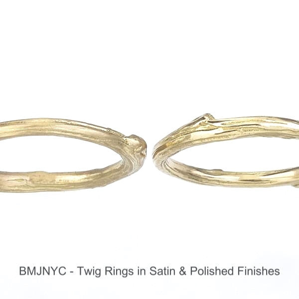 The Twig Band -- a slightly larger version of the Sprig Band.  Satin finish is shown on the left ring, polished finish is shown on the right ring.