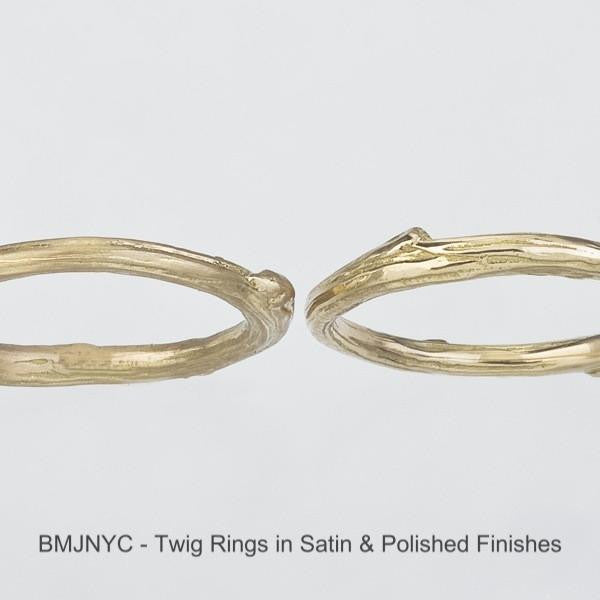 Twig Bands in satin and polished finishes.