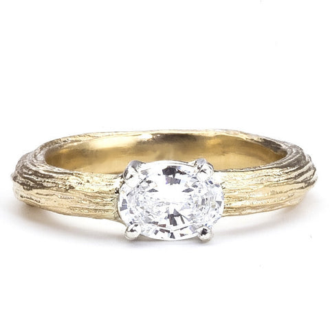 Twig Engagement Ring with Oval Diamond