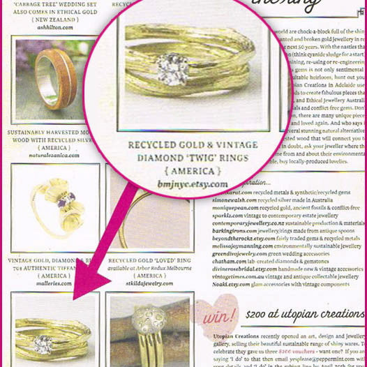 Solitaire Canadian Diamond Twig Engagement Ring Featured in Bell Armoire Jewelry and Peppermint Magazines.