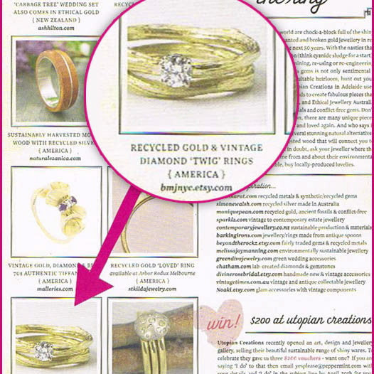 The Ideal Twig Bridal Ring Set, a nature inspired diamond wedding set, was featured in Australia's Peppermint Magazine.
