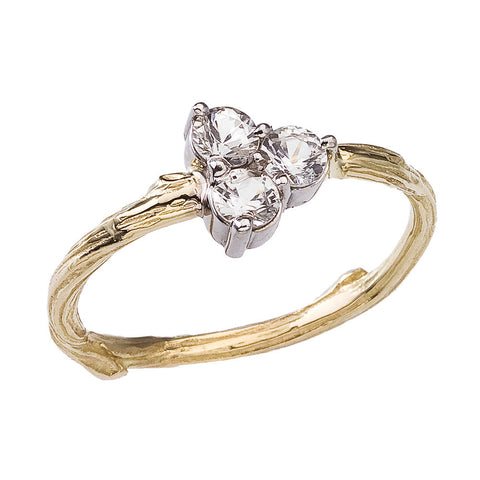 White sapphires set on a delicate twig. Cluster Ring in 18K recycled gold. BMJNYC
