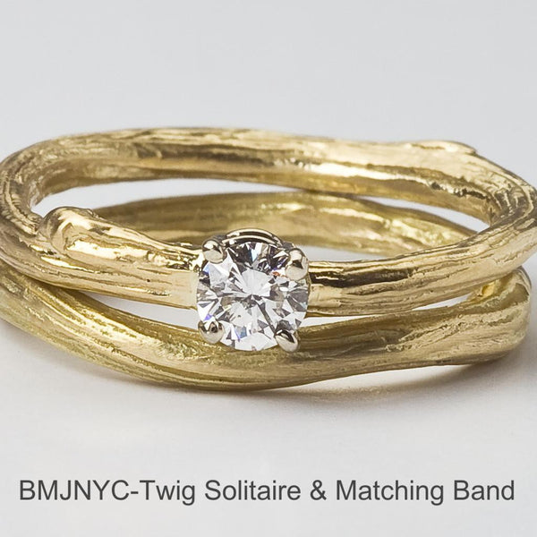 Solitaire Canadian Diamond Twig Engagement Ring paired with Twig Band for a beautiful wedding set.
