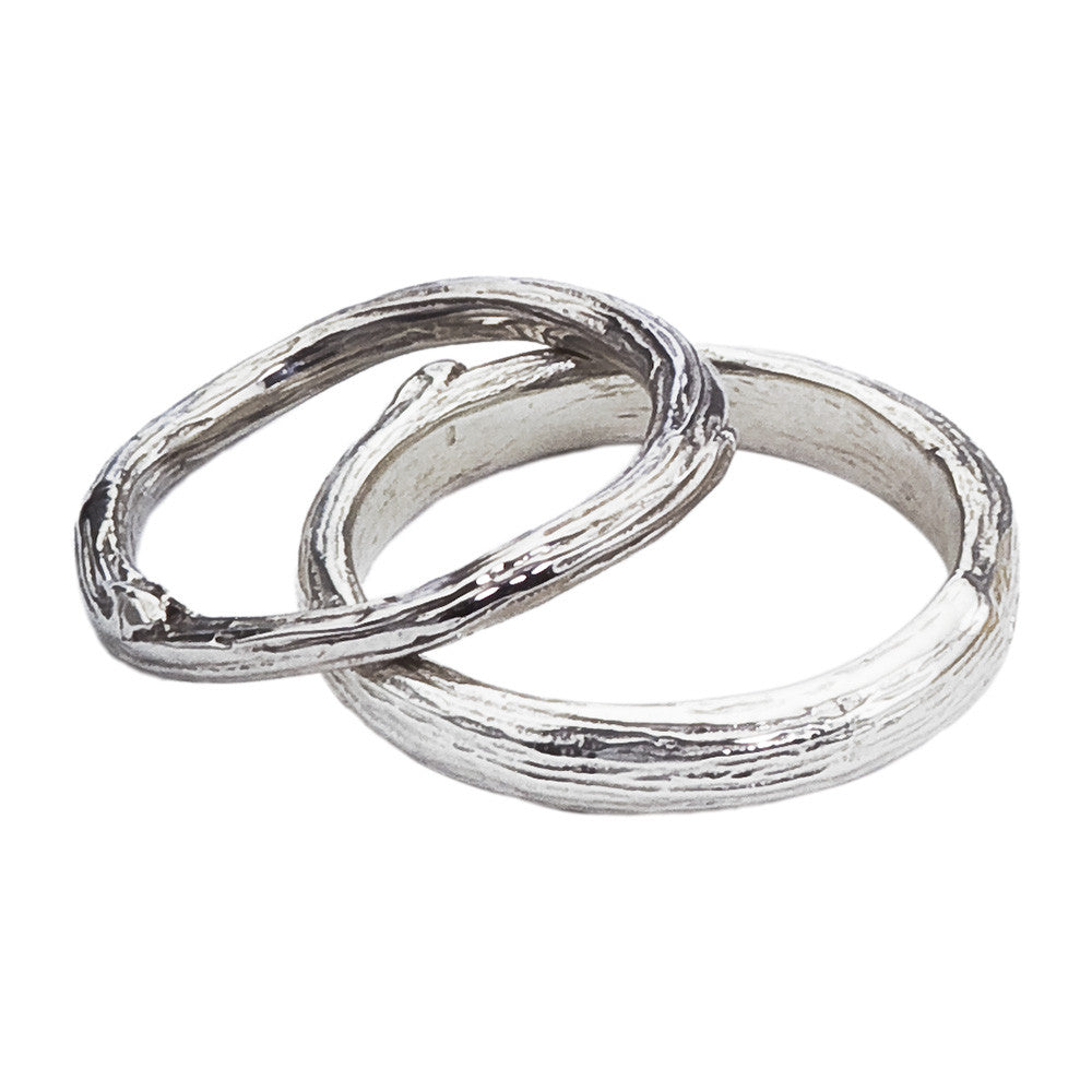 Twig and Branch Gold Wedding Band Set Barbara Michelle Jacobs Jewelry