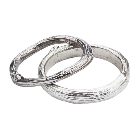 Twig and Branch Gold Wedding Band Set