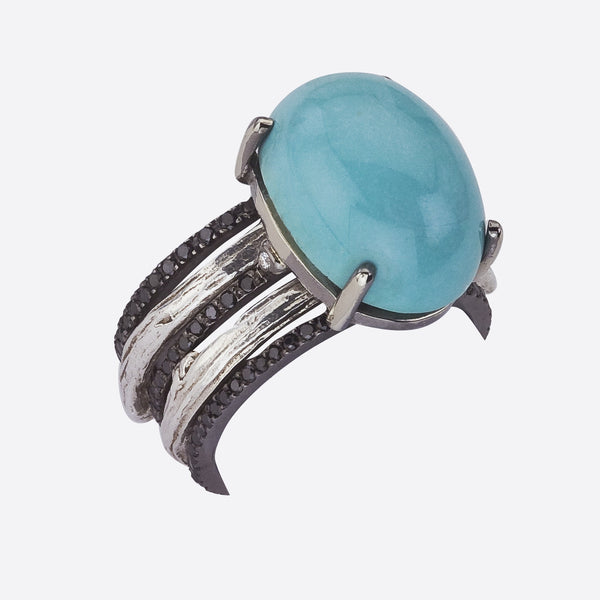 Custom Order - Turquoise and Black Diamond Ring