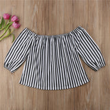 White Striped Off-Shoulder Shirt