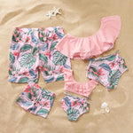 Pink Palm Family Swimsuit - EllMii Boutique