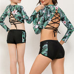 Palm Leaf Boy Shorts Swimsuit