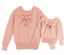 Pink Bow Knitted Sweater - EllMii Boutique