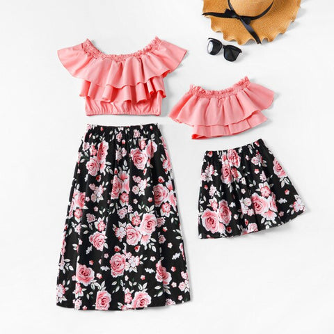 Ruffle Pink Flower Set