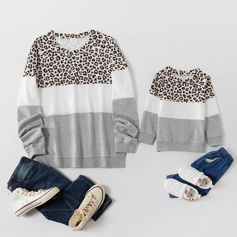 Matching Leopard Gray Sweatshirt - EllMii Boutique