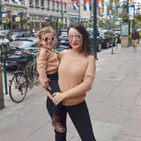 Mommy & Me Off Shoulder Knit Sweater