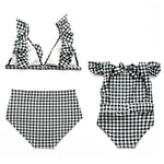 Mommy & Me Plaid Bathing Suits ( Red & Black) - EllMii Boutique