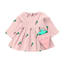 Carrot Pink Long Sleeve Dress with a Bag