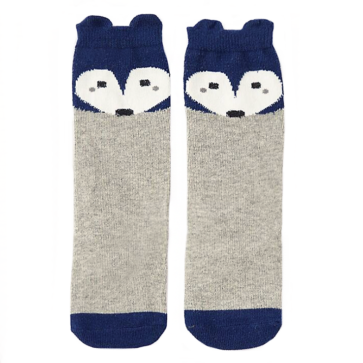 Fox Blue & Grey Knee High Socks