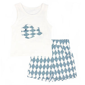 Grey Whale Singlet & Shorts Set
