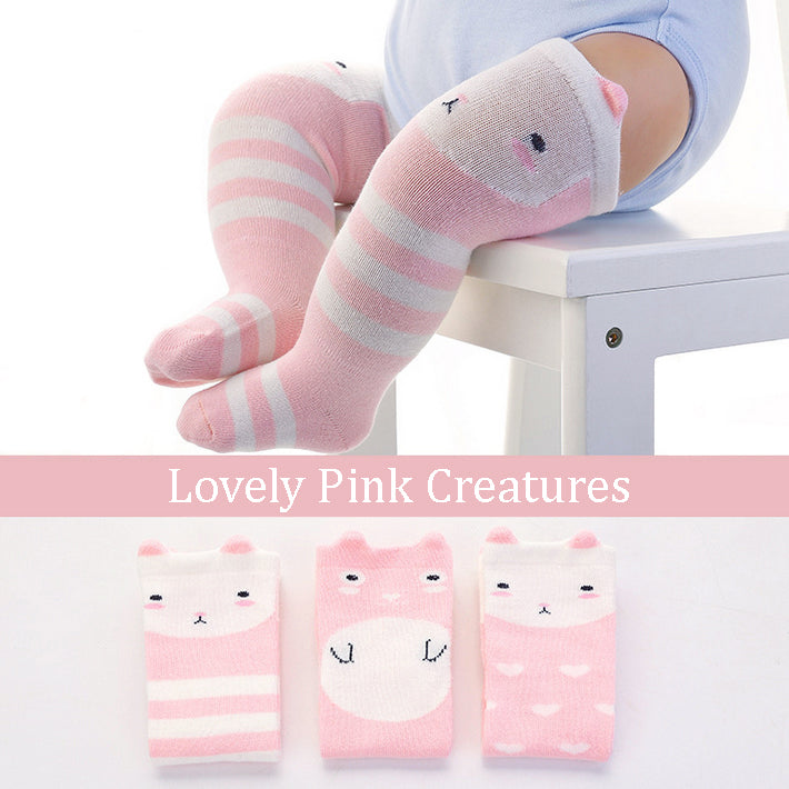 Lovely Pink Creatures Knee High Socks