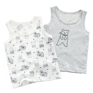 Grey & White Bear Mesh Singlet Set