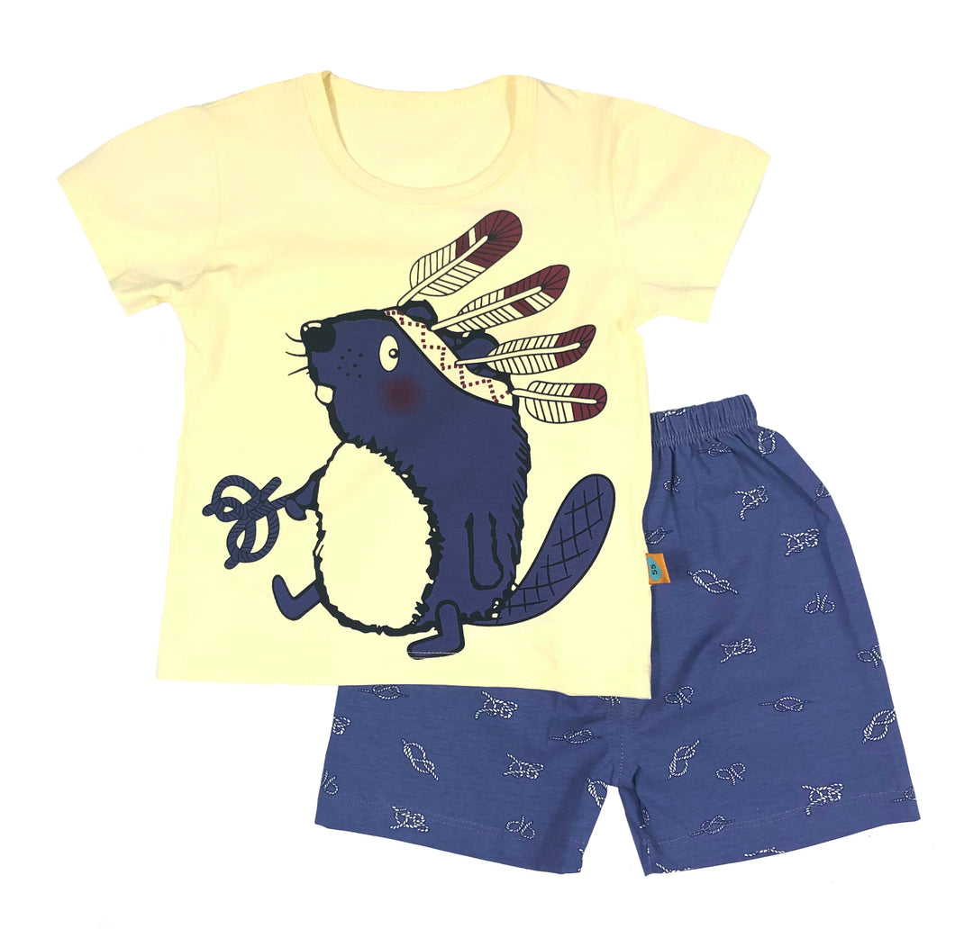 Yellow Mouse Tee and short set