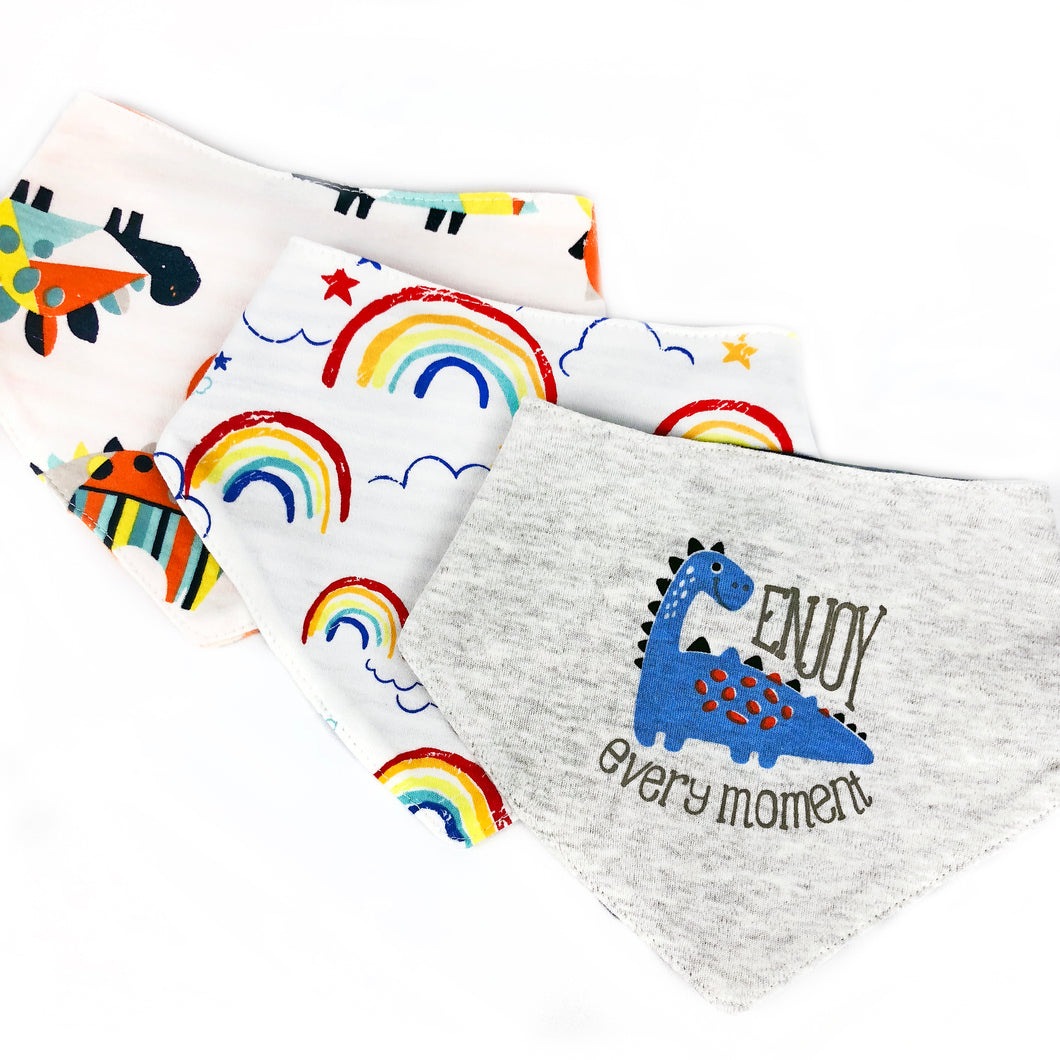 Dinosaur & Rainbows Bib Set