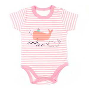 Pink Whale Stripes Romper