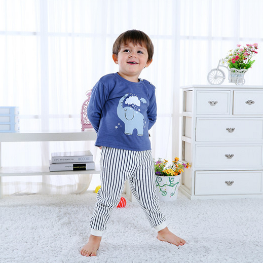 Elephant Stripes Long Sleeve Pajamas