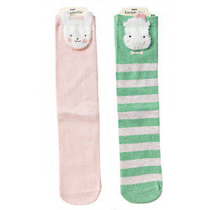 Pink & Green Knee High Socks Set