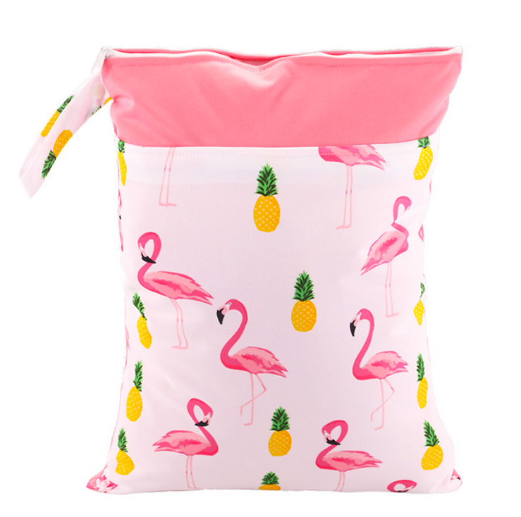 Flamingo & Pineapple Bi-colour Double Zip Wet Bag