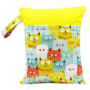 Cats Everywhere Bi-colour Double Zip Wet Bag