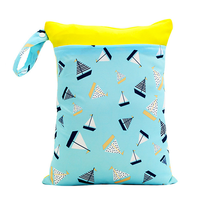 Sailboats Bi-colour Double Zip Wet Bag