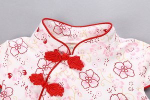 Red Floral Cheong Sam Bodysuit
