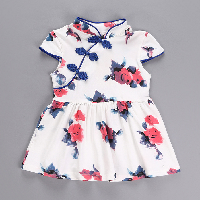 Blue Floral Cheong Sam Dress