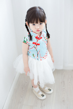 Cherry Blossom Cheong Sam Tutu Dress in Blue