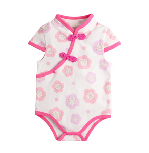 Carrie Pink Cherry Blossom Cheong Sam Bodysuit