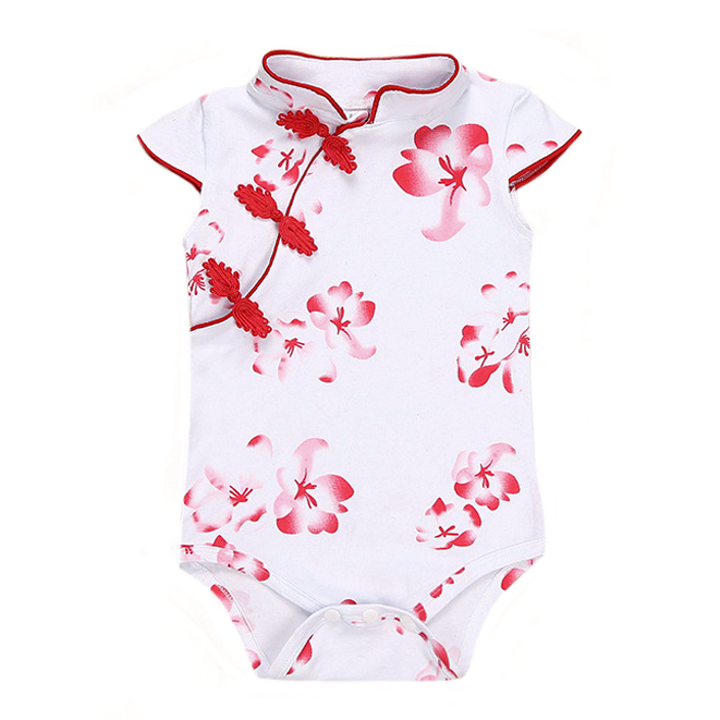 Red Blossoms Cheong Sam Bodysuit