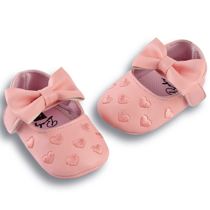 Peach Pink Bow Knot Hearts Pre-walker Shoes