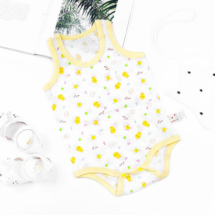 Little Yellow Chicks Sleeveless Mesh Romper