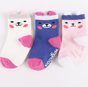 Cute Ears Bear Socks Set (Purple)