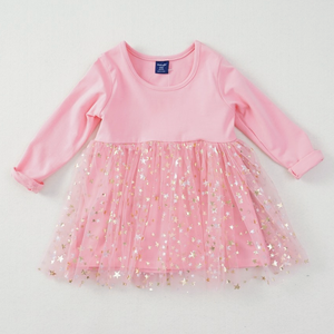 Starry Peachy Pink Long Sleeve Dress
