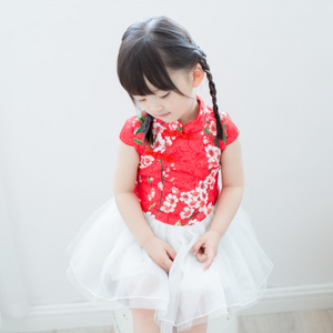 Cherry Blossom Cheong Sam Tutu Dress in Red