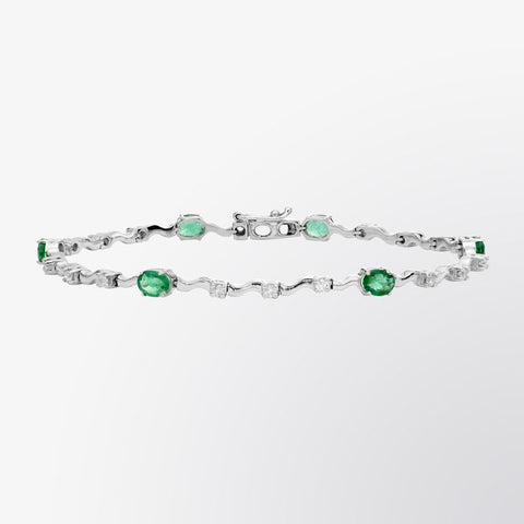 Emerald and Diamond Wave Bracelet
