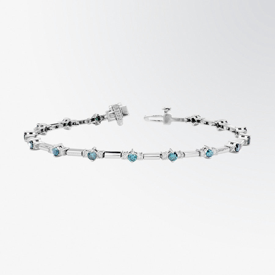 Three Stone Blue Diamond and Diamond Bracelet