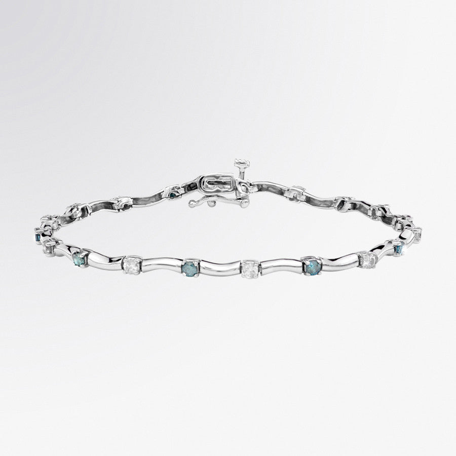Blue Diamond and Diamond Wave Bracelet