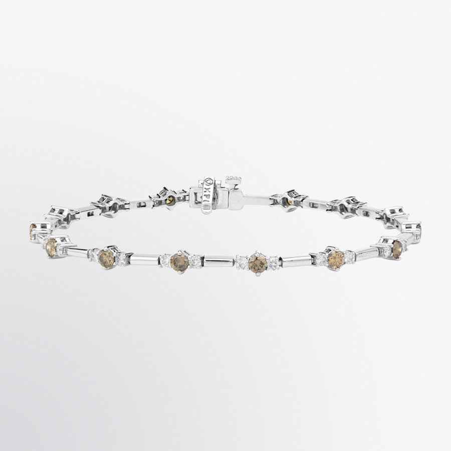 Three Stone Brown Diamond and Diamond Bracelet
