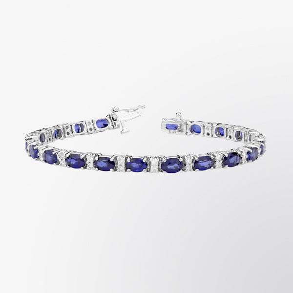 Blue Sapphire and Diamond Bracelet